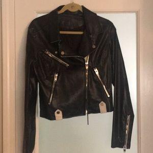 Black and white pleather jacket